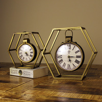 TUDA Free Shipping 11 Inch Vintage Style Hexagon Table Clock Art Decoration Metal Table Clock Luxury Mute Quartz Table Clock