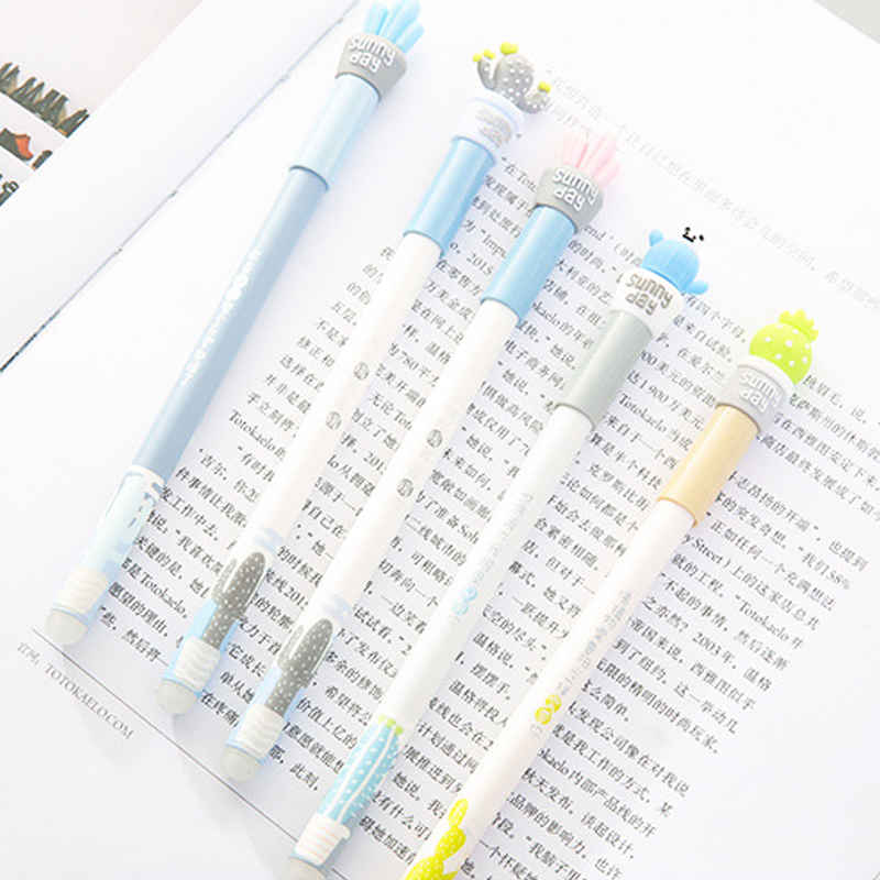 5 pcs lot Kawaii Cactus Erasable Gel Pen 0 5mm Gel Pen Signature Pen Escolar Papelaria School Office Supply Promotional Gift in Gel Pens from Office School Supplies