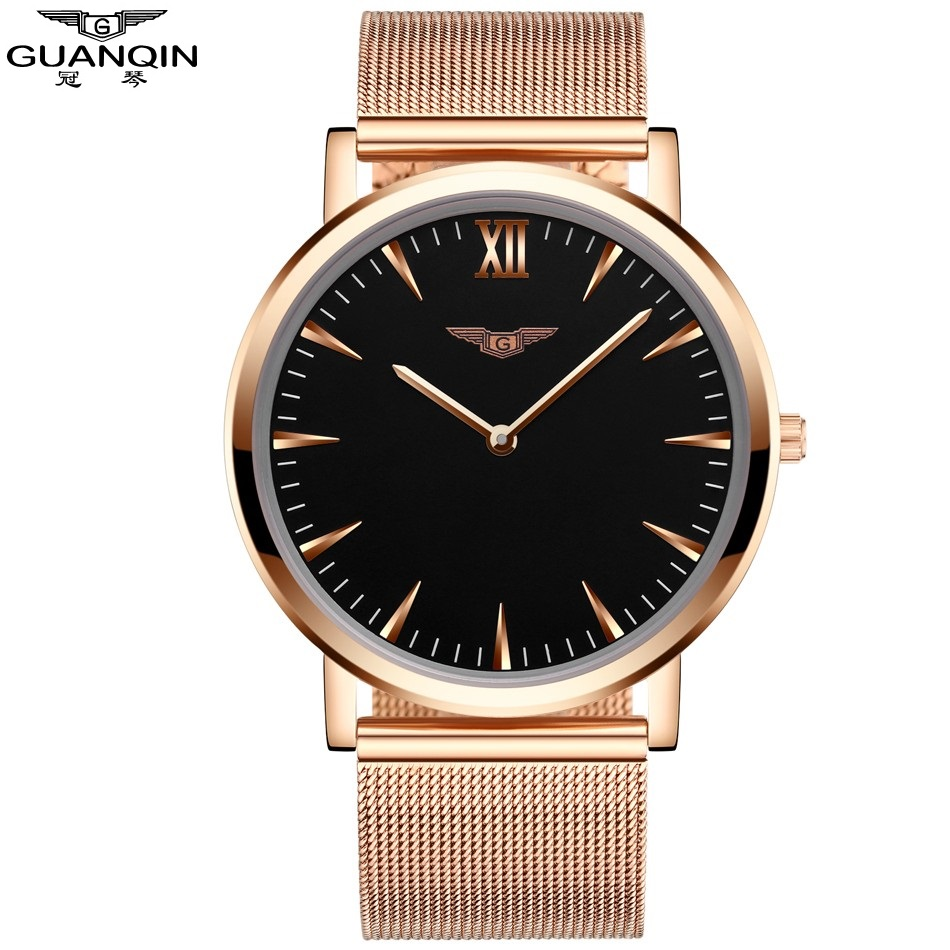 ФОТО Watch Men GUANQIN Relogio Masculino Gold Simple Mens Watches Top Brand Luxury Ultra Thin Quartz Watch New Year Gifts for Friends