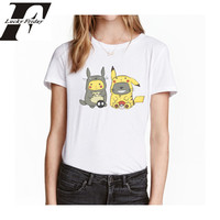 Kawaii Totoro With Pokemone T Shirt For Women Summer Short Sleeve O Neck Female T Shirt