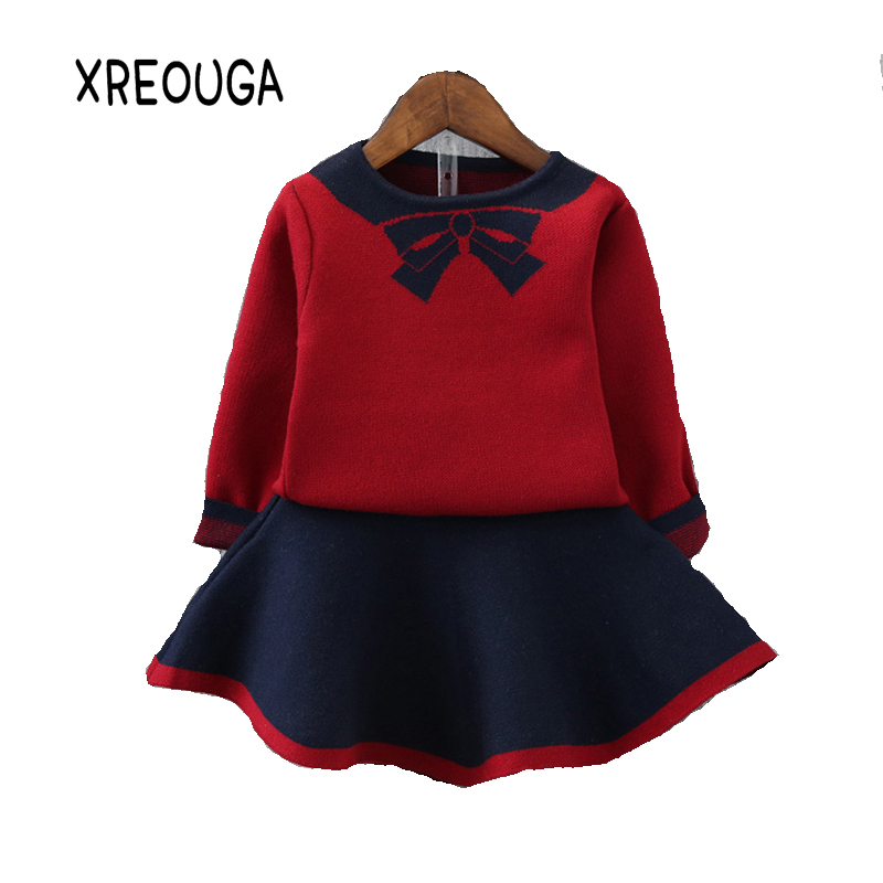 Sweet Girls Dress Sets Long Sleeved Sweater+Print Bow Knitted Wool Skirt 2Pcs Suit Children Tracksuit Baby Clothes Suit XHC02 girls knitted dress sets children turtleneck long sleeve sweater suspenders two piece dress sets kids casual dress suits