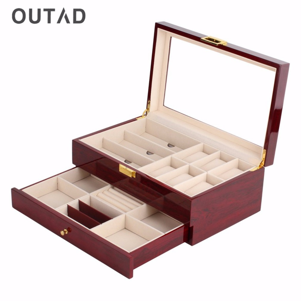 OUTAD Red Wood Watch Box Double Layers Suede Inside Paint Outside Jewelry Storage Watch Display Slot Case Container Organizer телевизор red box