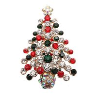 Hot Sale Christmas Tree Color Crystal Rhinestone Brooches and Pins for Christmas Gift For Unisex Design