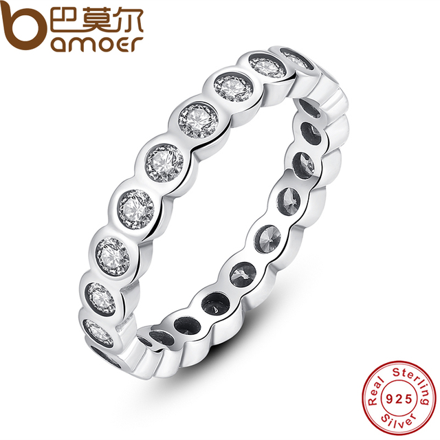 BAMOER 925 Sterling Silver Fascino Brillante Impilabile Anello di Barretta con Clear CZ Originale Fine Jewelry PA7131