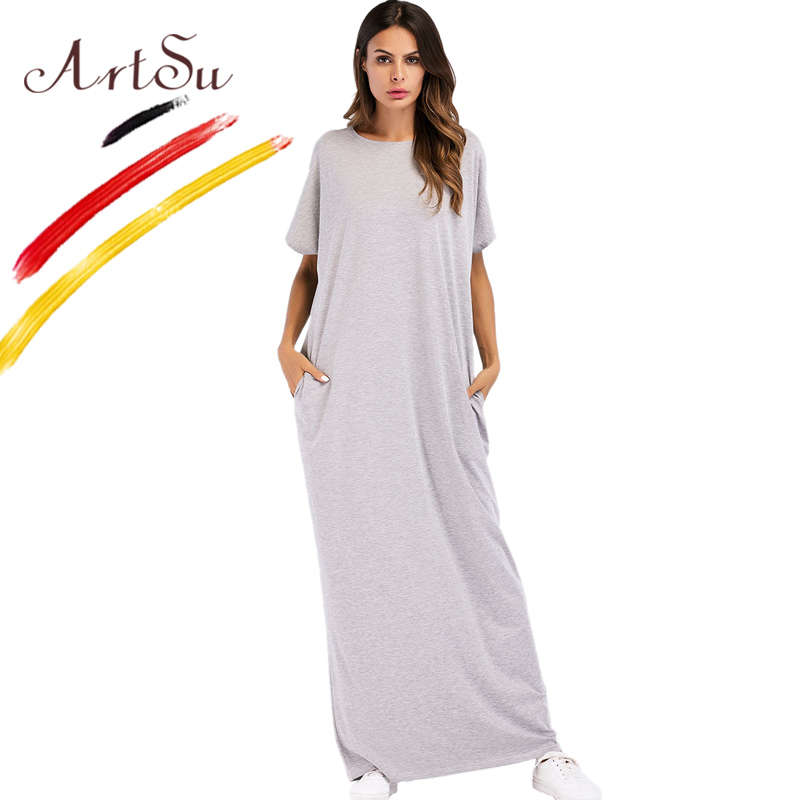 ArtSu O-Neck Batwing Sleeve Summer Maxi Dress Casual Pockets Women Long Dess Grey Hollow Out Sexy Robe Femme Vestidos Plus Size