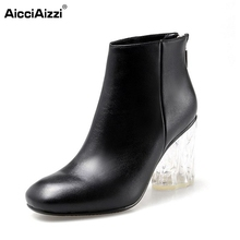Brand Winter Genuine Real Leather Boots Women Crystal Heel Ankle Snow Boots Botas Feminina Fashion Zipper Women Shoes Size 34-43