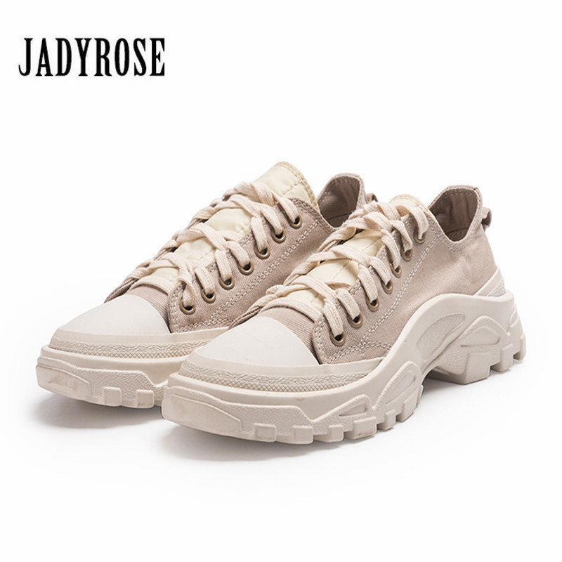Jady Rose Women Sneakers Platform Creepers Lace Up Flat Canvas Shoes Woman Casual Flats Tenis Feminino Espadrilles Trainers new england fans printed canvas shoes color lace up women casual flats custom patriotic letter luminous tenis shoes espadrilles