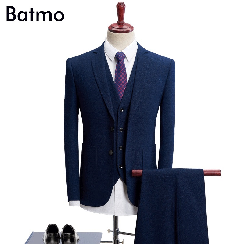 Batmo 2018 new arrival High quality thick dark blue causal men's suis,wedding dress suit men,men's business suits,plus-size 1021