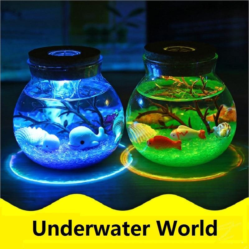 3D Underwater World LED Night Lamp DIY Micro-landscape Night Light Glass Bottle Creative Desk Light Great Holiday Gift