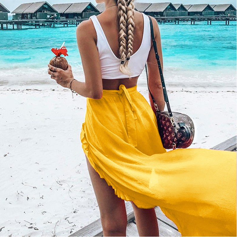 2018 Summer Women High Waist Lace Up Ruffles Solid High Split Hem Long Skirt Beach Party Fashion Irregular Jupe Sexy White Skirt