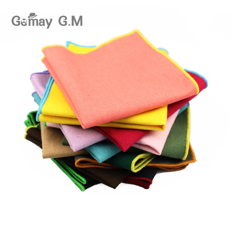 Men's Pocket Towel Cotton Towel Handkerchief Color Solid Candy Suit Wedding Banquet Exquisite Handkerchief As Spot