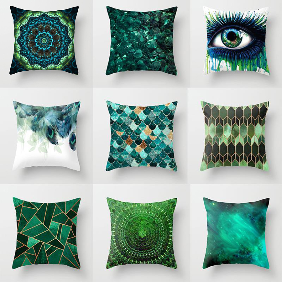 18'' Elife Plant Green Eye Leaves Polyester Geometric Mandala Cushion Cover Pillows Cover For Sofa Car Waist Home Decor 45*45CM