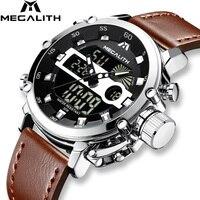 MEGALITH Модные мужские светодиодный спортивные кварцевые часы мужские многофункциональные водонепроницаемые Дата светящаяся наручные часы