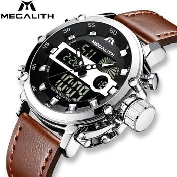 MEGALITH moda męska LED Sport zegarek kwarcowy zegarek mężczyźni wielofunkcyjne wodoodporne data Luminous zegarki na rękę mężczyźni zegar Horloges Mannen tanie i dobre opinie Kwarcowe Zegarki Na Rękę Podwójny Wyświetlacz Stop 22 5 cm Klamra 3Bar Kompletna kalendarz Odporny na wstrząsy Świetliste Dłonie