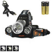 6000LM 3 x CREE XM-L T6 LED Rechargeable Headlight Head Lamp Torch 2x18650+USB Charger