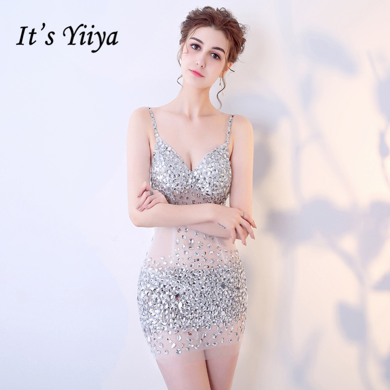 It's YiiYa 2018 Hot Sales V- Neck Sleeveless Cocktail Dresses Knee-Length Backless Diamonds Formal Dress Party Gowns BX011