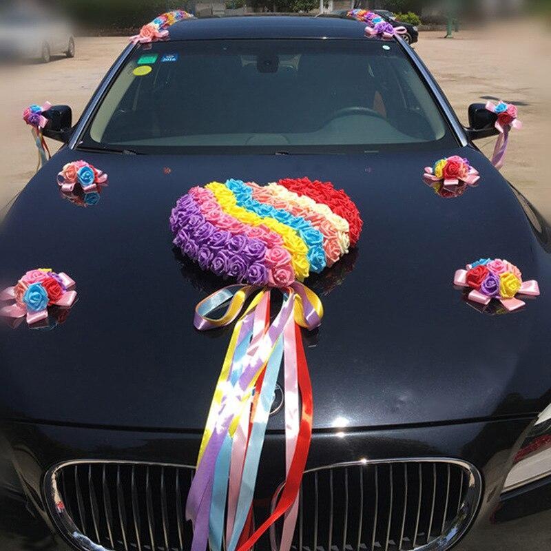Arc-en-ciel mariage voiture décoration ensembles fleurs artificielles mariage Docoration mousse Roses décoratif couronne bricolage en gros