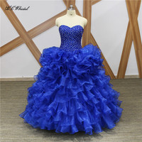 Custom Made Royal Blue Ball Gown Quinceanera Dresses 2018 New Chic Beaded Ruffles Organza Puffy Quinceanera Dress Fast Shipping
