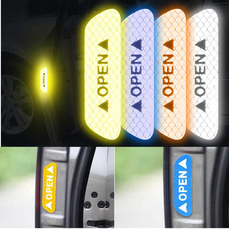 4pcs Car OPEN Reflective Strips Waterproof Warning Mark Door Anti-collision Sticker Night Driving Safety Lighting Luminous Tapes