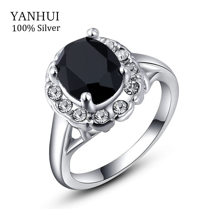 yanhui luxury white gold filled wedding rings for women 3 carat black stone engagement ring women - Stone Wedding Rings