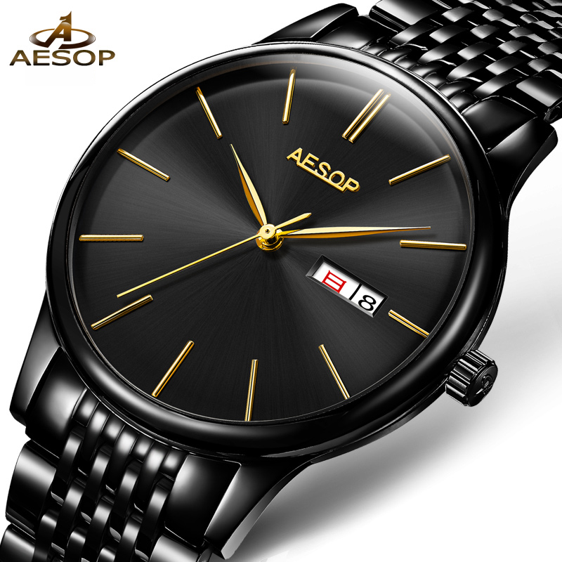 Luxury AESOP watch men ultrathin dial sapphire tainless steel waterproof automatic machine wristwatch relogio masculine