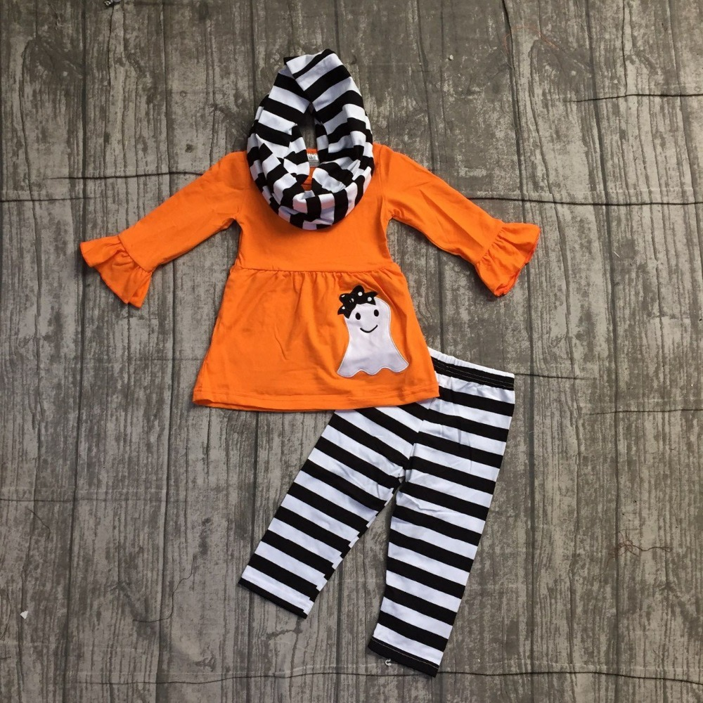baby girls FALL/Winter Halloween skull 3pieces scarf black orange striped pant sets cotton print boutique children clothes sets genuine orangefox pure cotton striped scarf