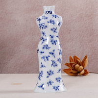 Traditional Chinese Porcelain Vases Flower Receptacle Home Decoration Antique Blue And White Ceramic Flower Vase