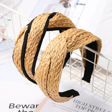 Korea New Popular Trendy Handmade Weave Rattan Straw Wide Hairbands For Women Fashion Headwear Knotted Hair Bands Wholesale