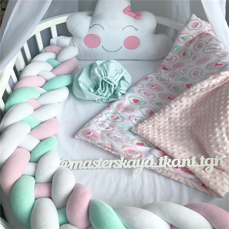 2M Length 4 braids lovely Knot Newborn crib Bumper fence Knotted Braid Pillow Baby Bed sleep protector Infant Room Decorator 2m length nodic knot newborn bumper long knotted braid pillow baby bed bumper in the crib infant room decor