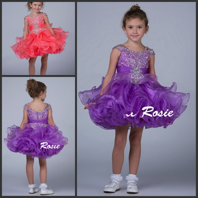 Glittering Toddler Pageant Dresses Short Mini Crystal Beadings Organza  Ruffle Skirt Coral Purple Cupcake Party Gowns for Kids a0de73477ed6