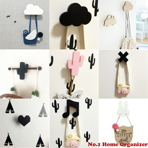 Wooden Anchor Kids Room Wall Sticker Decoration Clothing Hanger Children Birthday Gift Hook Nordic Cactus Wall Clothes Hooks(China)