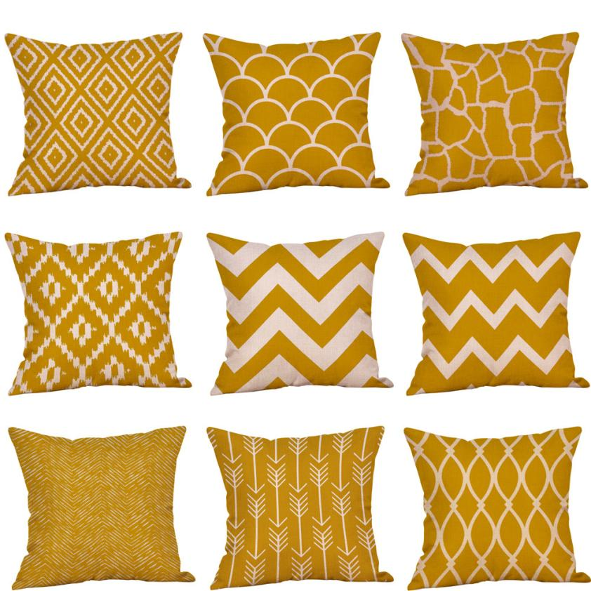 Mustard Pillow Case Yellow Geometric Fall Autumn cotton linen cushion cover decorative pillow case 45*45 yellow #PY40