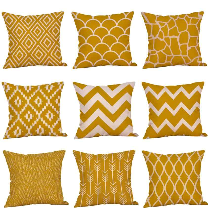 Mustard Pillow Case Yellow Geometric Fall Autumn cotton linen cushion cover decorative pillow case 45*45 yellow #40