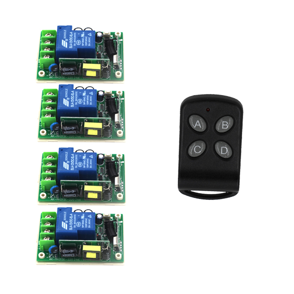 цена на AC 85V-250V 110V 30A 4CH RF Wireless Remote Control Switch System 1 Transmitter and 4 Receiver SKU: 5484