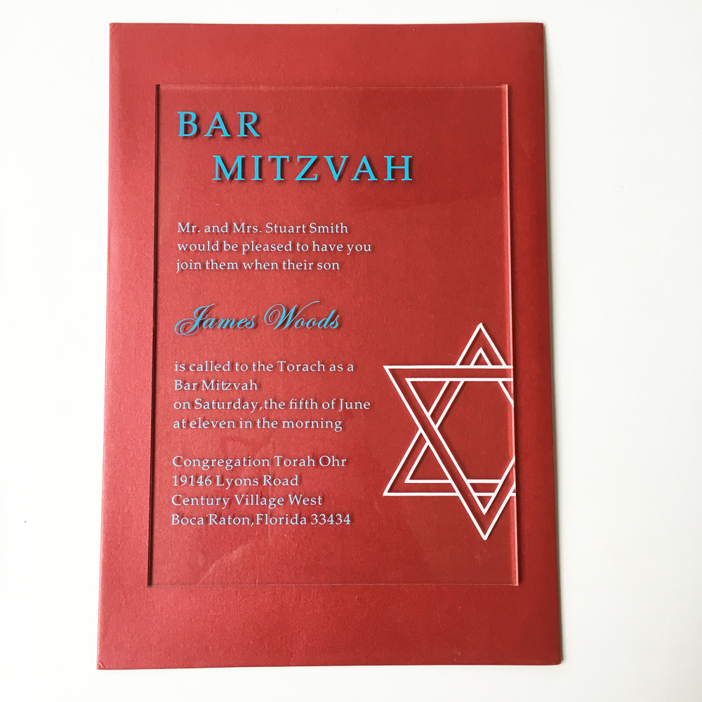 Customized 5*7inch 3mm thick clear acrylic Jewish Bar Mitzvah ...