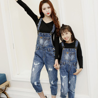 Mother And Daughter Matching Denim Overalls Mommy and Me Trousers Mom Girl Overalls Mom Baby Girl Bib Pants Family Look Pants