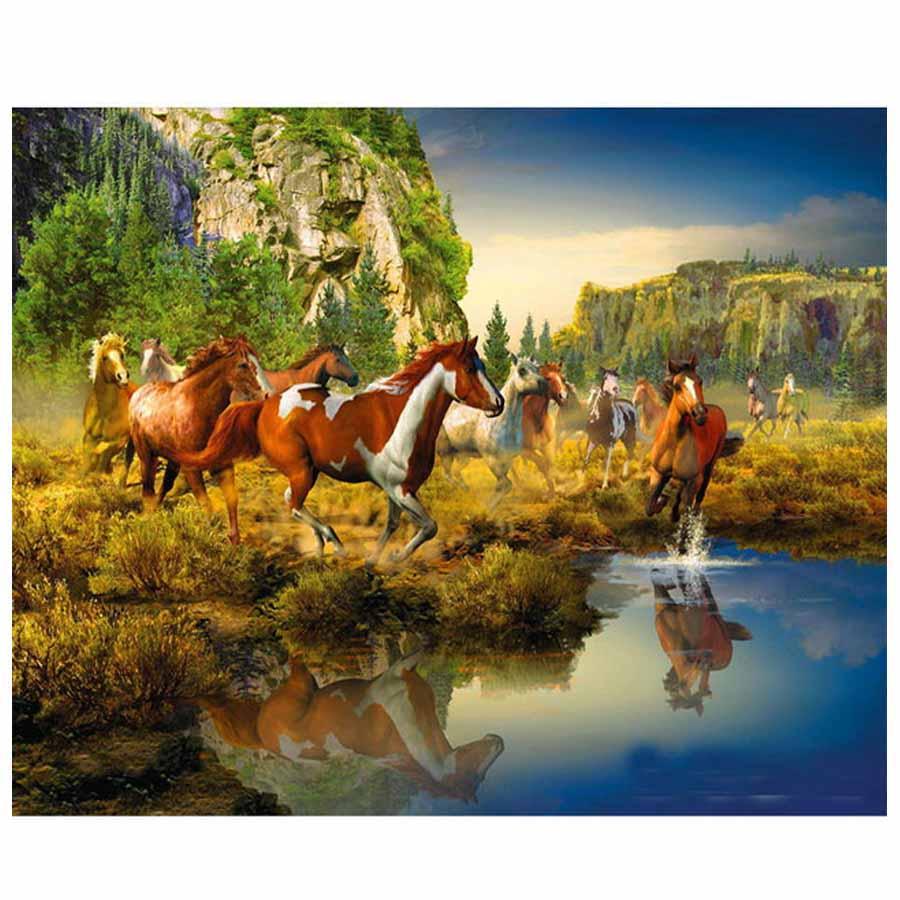 Полный квадратный/круглый алмазная живопись декоративная кристальная вышивка с изображением лошадей DIY алмазная живопись животные крести...