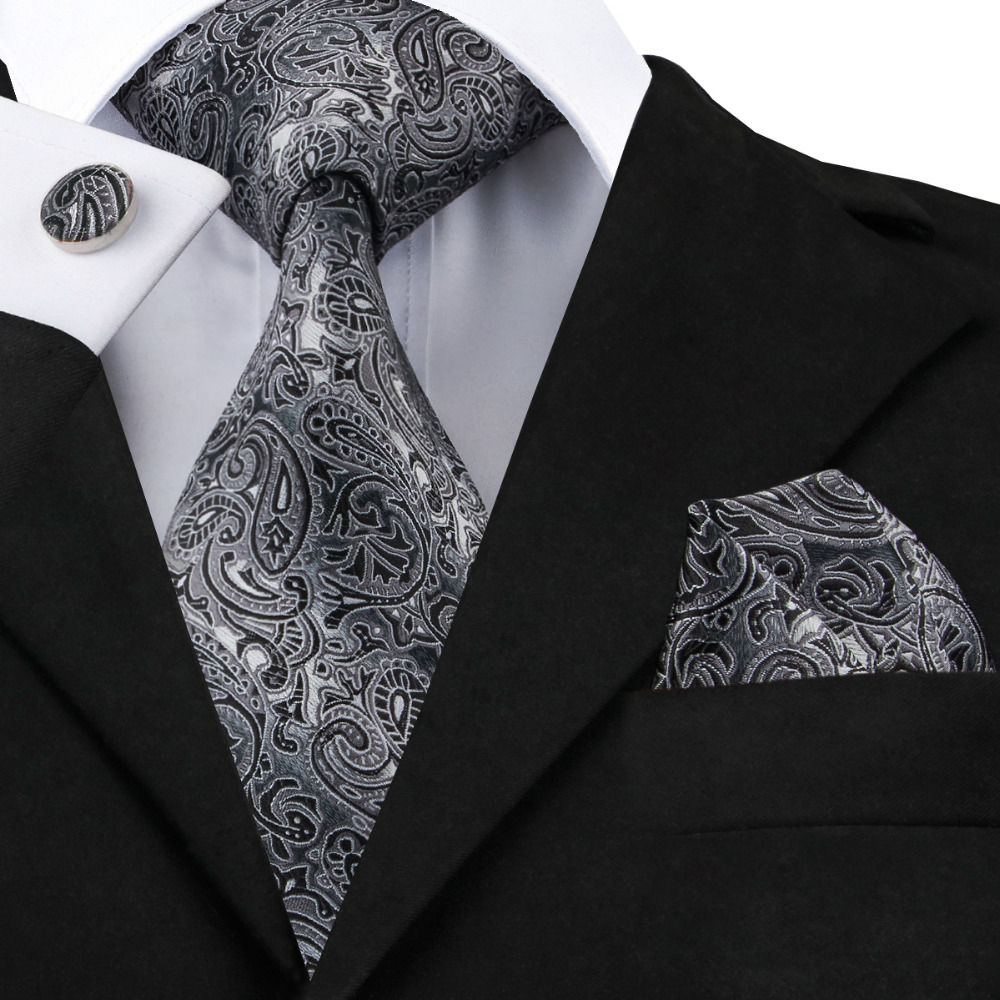Hi-Tie Mens Gray Black Paisley Tie Hanky Cufflinks Sets 100% Floral Silk Ties For Men Formal Wedding Party Groom
