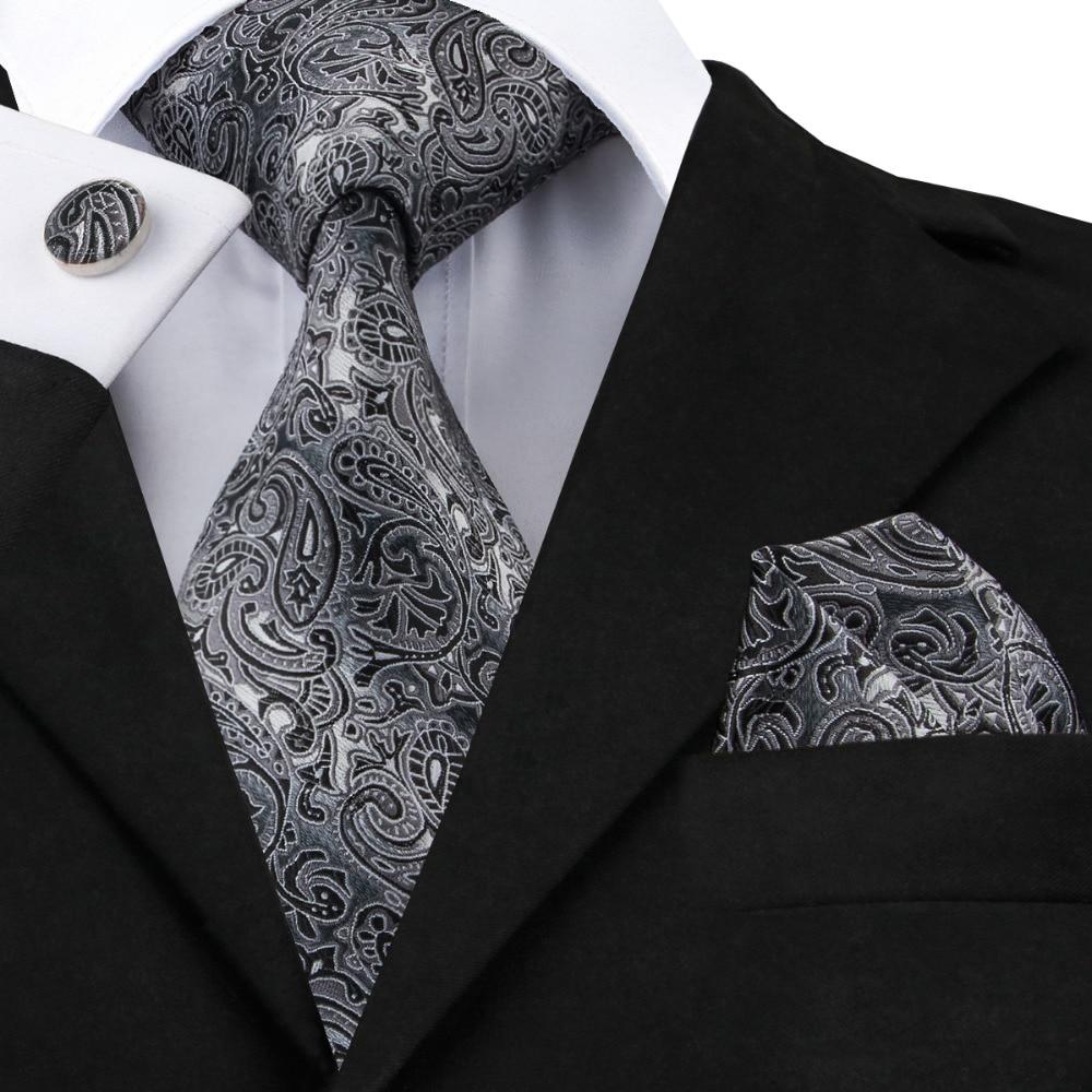 SN-209 Gray Black Paisley Tie Hanky Cufflinks Sets Men's 100% Silk Ties