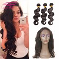 8A Hot Pre plucked 360 Lace Frontal Closure With Bundles Beauty Malaysian Body Wave 360 lace frontal with bundle with baby hair