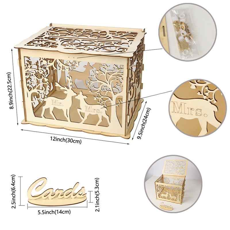 Деревянная Свадебная коробка для хранения сделай сам свадебные принадлежности олень карта коробка для свадебной вечеринки (1 ключ + 12 резиновых колец)