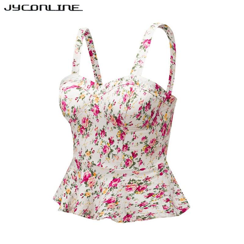 Jyconline Floral Bustier Crop Top Summer Women Tank Top Short Vest Sexy Camis Women Tops Cropped Feminino Ruffles Bralette Bra #3