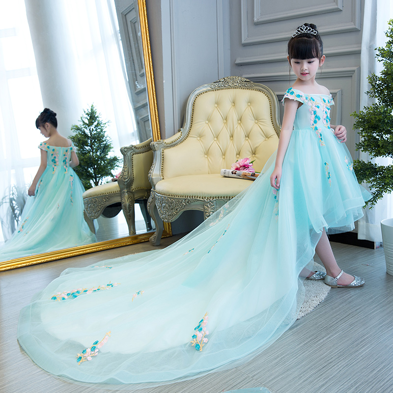 2018 Luxury Shoulderless Appliques Princess Flower Dress Long Tailing Ball Gown Backless Kids Pageant Dress For Wedding Birthday 2018 royal princess shoulderless flower ball gown dress long tailing sweet luxury backless kids pageant for birtyday party dress