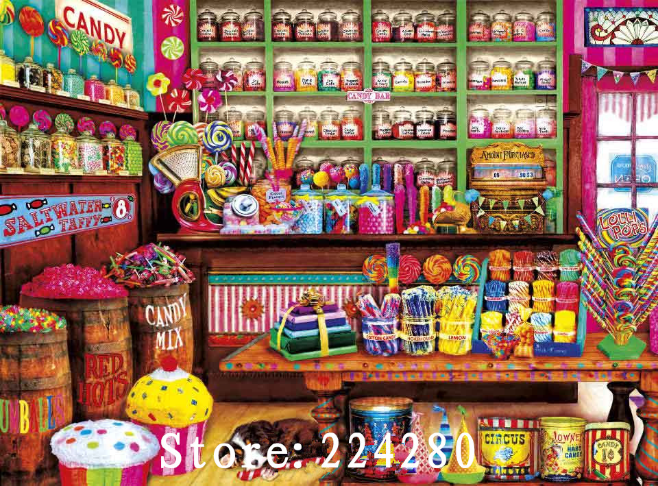 Needlework,14CT Counted Embroidery,Pink romantic Sweet candy shop DIY DMC Cross stitch kits,Art Pattern Cross-Stitching decor