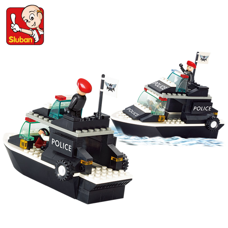1700 SLUBAN City Police Speed Ship Patrol Boat Model Building Blocks Enlighten Action Figure Toys For Children Compatible Legoe b1600 sluban city police swat patrol car model building blocks classic enlighten diy figure toys for children compatible legoe