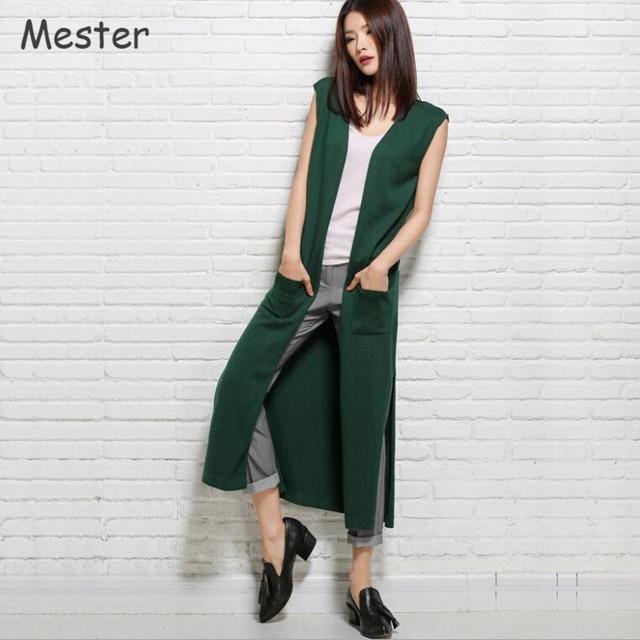 2017 Spring New Women Long Cardigan Sleeveless Wool Knitted Vest Fashion Knee-Length Split Hem Irregular Sweater Coat Pockets