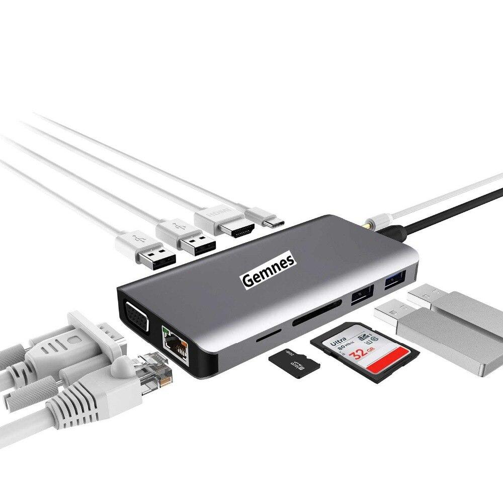 11 в 1 USB C концентратор к HDMI 4 K RJ45 Ethernet ЛВС USB 3,0 для MacBook Pro Xiaomi Asus lenovo ноутбука huawei Коврики 10 Тип C устройств