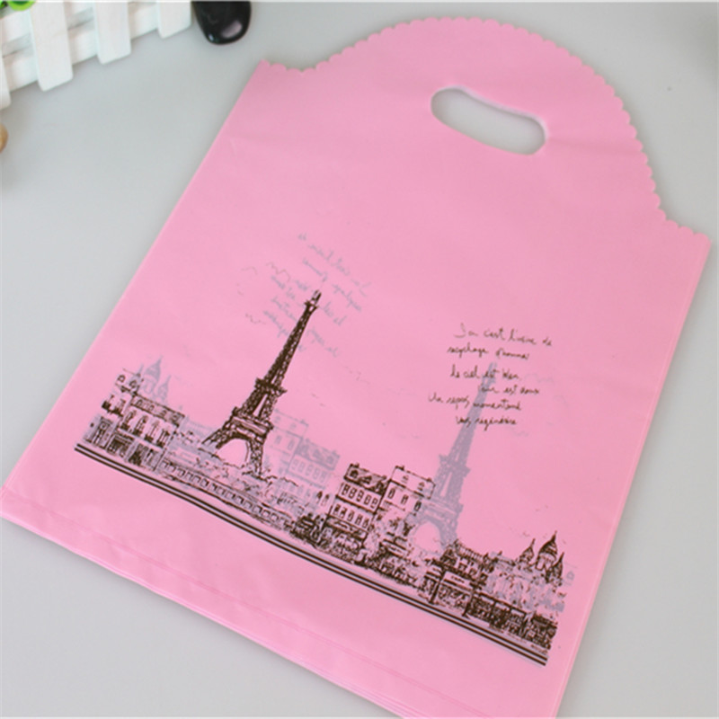 Hot Sale New Design Wholesale 50pcs/lot 25*35cm Thickening Large Shopping Plastic Bags Pink Eiffel Tower Gift Packaging Bags
