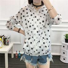 Long Sleeve Casual Cartoon Print Shirt Women Sunscreen Jacket Zipper Pockets Summer Thin Section 2019 New Fashion
