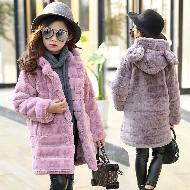 Mädchen Winter Mantel Verdicken Pelz Mit Kapuze Kinder Jacken Für